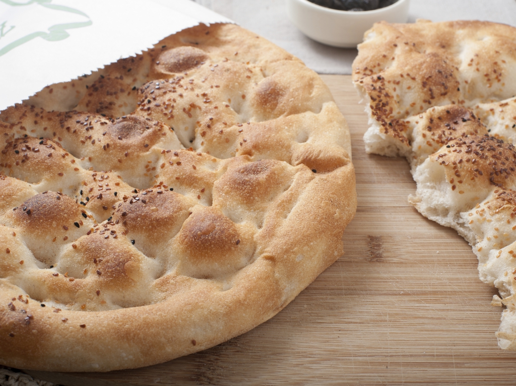 Close up of special Turkish Ramadan Pita bread on wooden table