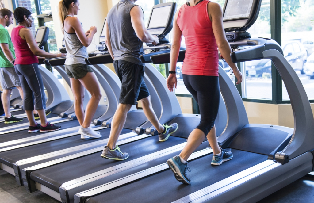 Several people exercising on treadmills in a fitness gym.