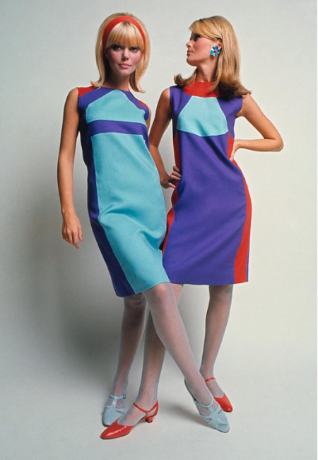 Two Models In Colorblock Dresses by David McCabe