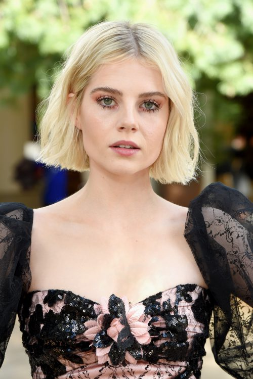 PASADENA, CA - FEBRUARY 05:  Lucy Boynton attends JNSQ Rose Cru debuts alongside Rodarte FW/19 Runway Show at Huntington Library on February 5, 2019 in Pasadena, California.  (Photo by Michael Kovac/Getty Images for JNSQ Wines)